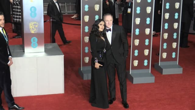 Salma Hayek and husband FrançoisHenri Pinault on the red carpet of the 2018 BAFTA award ceremony in London London UK 18th february 2018