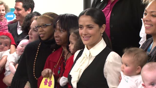 salma hayek and unicef announce 2nd wave of one pack = one vaccine campaign new york city ny 02/05/09 - salma hayek stock videos and b-roll footage