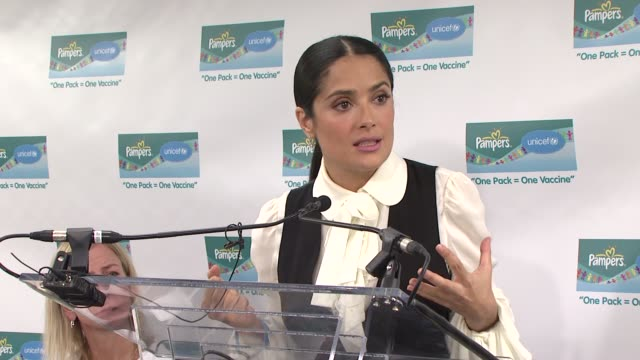 salma hayek and unicef announce 2nd wave of one pack one vaccine campaign new york city ny 2/5/09 - salma hayek stock videos and b-roll footage