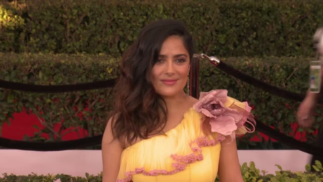 salma hayek at 23rd annual screen actors guild awards - arrivals in los angeles, ca 1/29/17 - screen actors guild awards stock videos & royalty-free footage