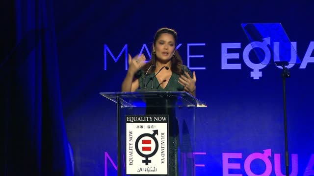 speech salma hayek at equality now's make equality reality event in los angeles ca - salma hayek stock videos and b-roll footage