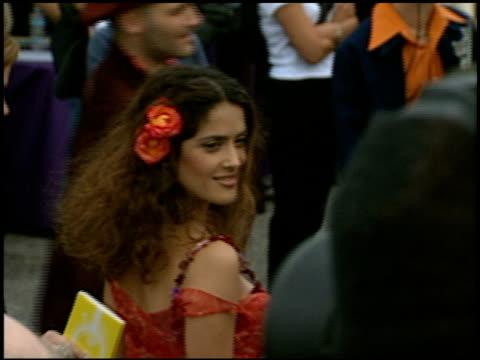 salma hayek at the 1997 mtv movie awards at barker hanger in santa monica california on june 7 1997 - 1997 stock videos & royalty-free footage