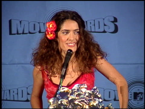 Salma Hayek at the 1997 MTV Movie Awards press room at Barker Hanger in Santa Monica California on June 7 1997