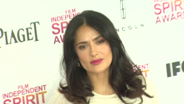 salma hayek at the 2013 film independent spirit awards - arrivals on 2/23/13 in santa monica, ca . - salma hayek stock videos & royalty-free footage