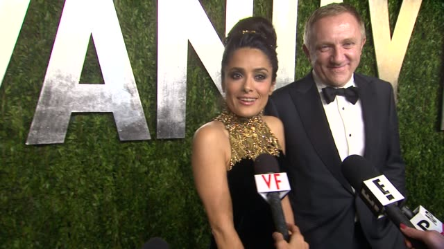 interview salma hayek at the 2013 vanity fair oscar party hosted by graydon carter interview salma hayek at the 2013 vanity fair at sunset tower on... - salma hayek stock videos and b-roll footage