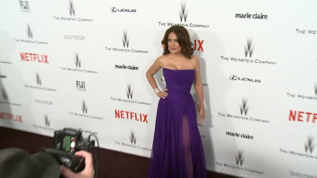 stockvideo's en b-roll-footage met salma hayek at the 2015 weinstein company and netflix golden globe after party at robinsons may lot on january 11 2015 in beverly hills california - salma hayek