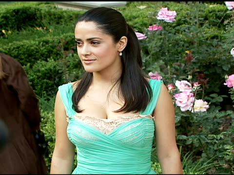 salma hayek at the chrysalis' fifth annual butterfly ball at private residence in bel air, california on june 10, 2006. - chrysalis butterfly ball video stock e b–roll
