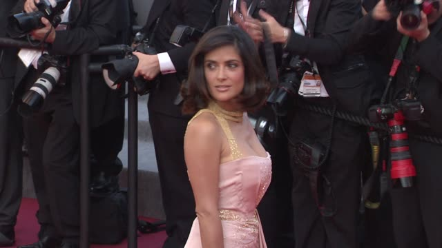vídeos de stock, filmes e b-roll de salma hayek at the closing night/the tree red carpet cannes film festival 2010 at cannes - salma hayek