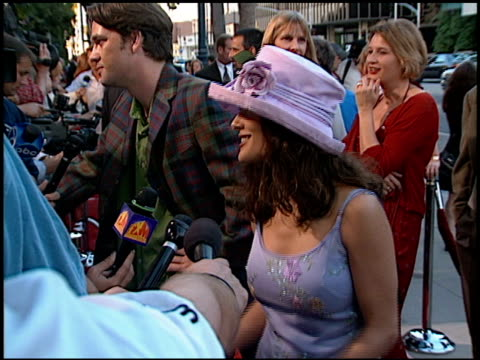 salma hayek at the 'ever after' premiere at academy theater in beverly hills california on july 29 1998 - salma hayek stock videos and b-roll footage