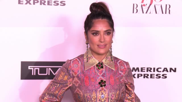 salma hayek at the harper's bazaar celebrates 150 most fashionable women at sunset tower on january 27 2017 in west hollywood california - salma hayek stock videos and b-roll footage