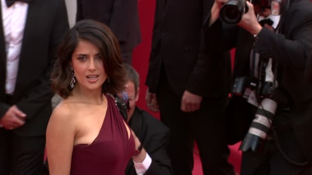 salma hayek at the robin hood red carpet: cannes film festival 2010 at cannes . - salma hayek stock videos & royalty-free footage
