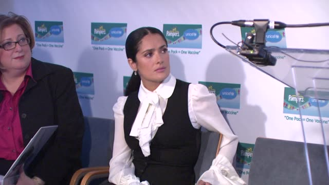 salma hayek at the salma hayek and unicef announce 2nd wave of 'one pack = one vaccine' campaign at new york ny - salma hayek stock videos and b-roll footage