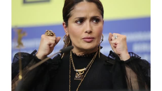 berlin germany february 26 salma hayek at the the roads not taken press conference during the 70th berlinale international film festival berlin at... - gif stock videos & royalty-free footage