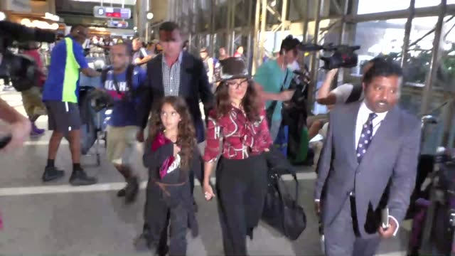 salma hayek & daughter valentina paloma pinault departing at lax airport in los angeles in celebrity sightings in los angeles, - salma hayek stock videos & royalty-free footage