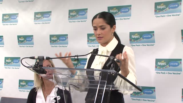 salma hayek discusses her partnership with pampers and unicef why it is so satisfying to be part of the project and what she has learned from being... - salma hayek stock videos and b-roll footage