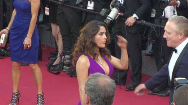 Salma Hayek FrancoisHenri Pinault at 'Carol' Red Carpet at Palais des Festivals on May 17 2015 in Cannes France