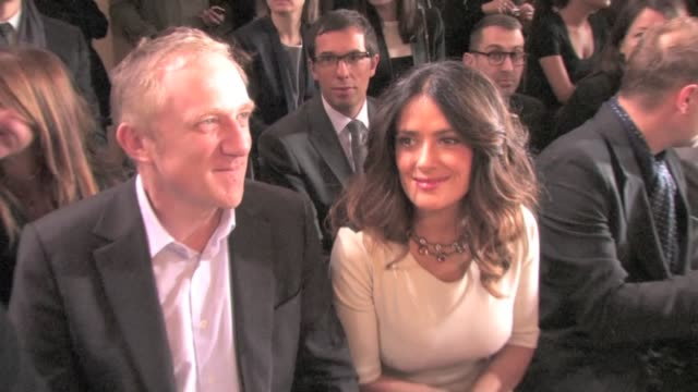 salma hayek front row with her husband françois henri pinault at the 2012 stella mccartney fashion show in paris salma hayek at 2012 stella mccartney... - salma hayek stock videos and b-roll footage
