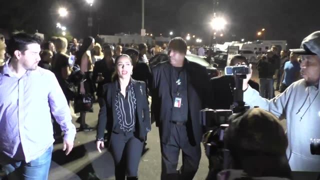 stockvideo's en b-roll-footage met salma hayek leaving the madonna concert at the forum in los angeles in celebrity sightings in los angeles - salma hayek