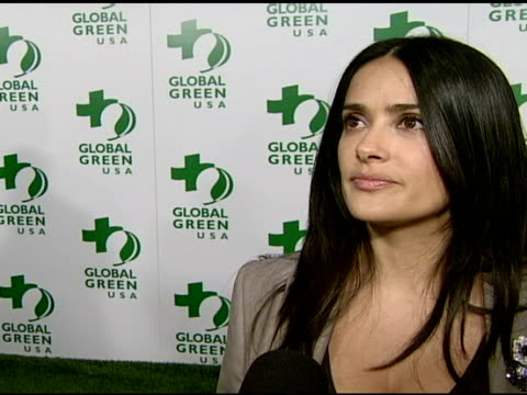 salma hayek on attending tonight's event and on her trip to the arctic at the global green usa's 5th annual preoscar party at null in hollywood... - pre party stock videos and b-roll footage