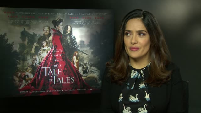 vídeos de stock, filmes e b-roll de salma hayek on her characters drive and motivtion at 'tale of tales' interviews at soho hotel on june 1, 2016 in london, england. - salma hayek