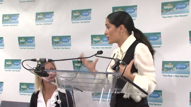 salma hayek on how proud she is to be part of the program and the pride she has with her partners in the program at the salma hayek and unicef... - salma hayek stock videos and b-roll footage