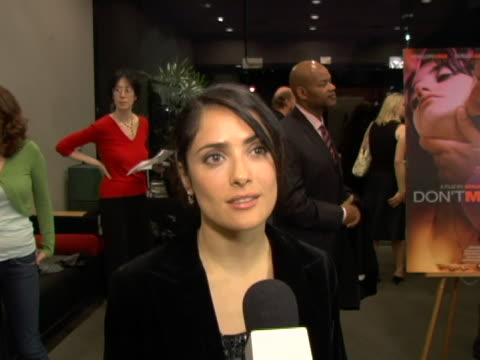 salma hayek on the film, supporting penelope cruz, penelopes character in the film, expectations for the film in america and her upcoming projects... - film screening stock videos & royalty-free footage