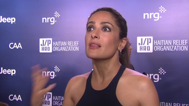 stockvideo's en b-roll-footage met interview salma hayek on why it was important for her to support jphro talks about sean penn's commitment to the cause and why its nice to have this... - salma hayek
