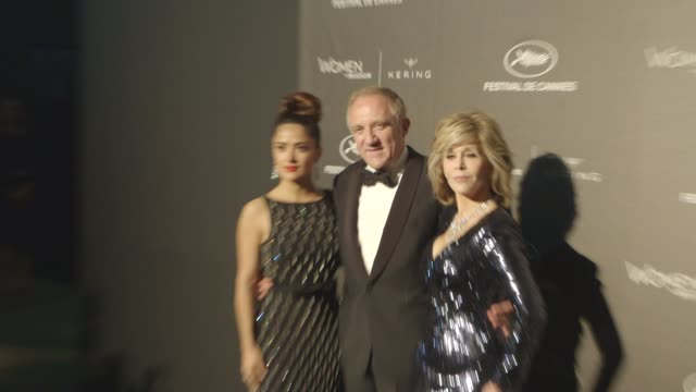 broll salma hayek pinault francois henri pinault jane fondaat kering official cannes dinner at place de la castre on may 17 2015 in cannes france - salma hayek stock videos and b-roll footage