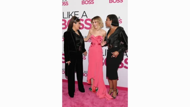 salma hayek rose byrne and tiffany haddish attend the world premiere of like a boss at sva theater on january 07 2020 in new york city - rose byrne stock videos & royalty-free footage