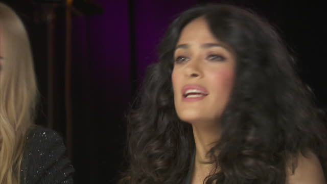 salma hayek says that everybody can make a difference, whether they think they can or not, while backstage at the chime for change event for the... - human rights or social issues or immigration or employment and labor or protest or riot or lgbtqi rights or women's rights stock videos & royalty-free footage