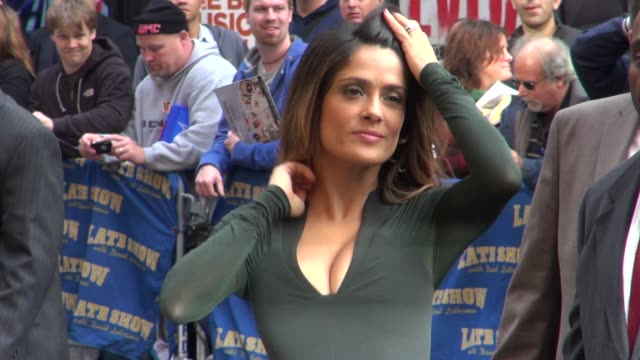 Salma Hayek signs for fans at the Late Show in New York on 10/24/11