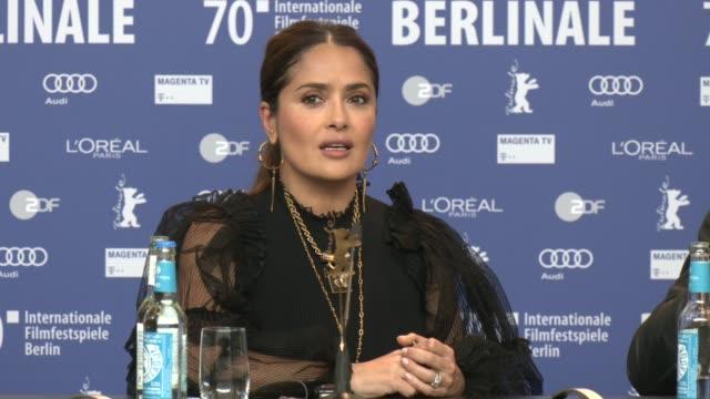 "salma hayek speaks at the ""the roads not taken"" press conference during the 70th berlinale international film festival berlin at grand hyatt hotel on... - salma hayek stock videos & royalty-free footage"