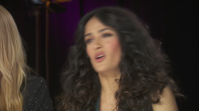 salma hayek talks about stage fright while backstage at the chime for change event to benefit women's rights around the world. - human rights or social issues or immigration or employment and labor or protest or riot or lgbtqi rights or women's rights stock videos & royalty-free footage
