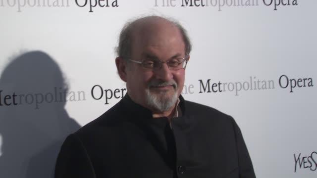 "vídeos de stock, filmes e b-roll de salman rushdie at metropolitan opera gala premiere of jules massenet's ""manon"" at the metropolitan opera house on march 26, 2012 in new york, new york - manon lescaut"