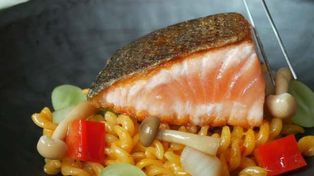 salmon and pasta - fillet stock videos and b-roll footage