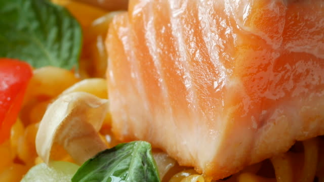 salmon and pasta - plate stock videos and b-roll footage