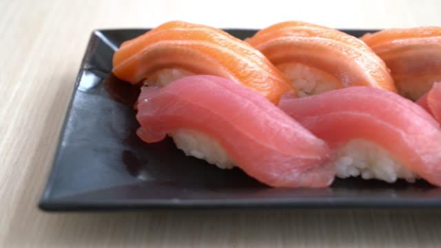 salmon and tuna sushi - tuna seafood stock videos and b-roll footage