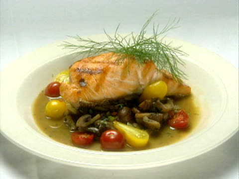 a salmon dinner plate - savoury food stock videos & royalty-free footage