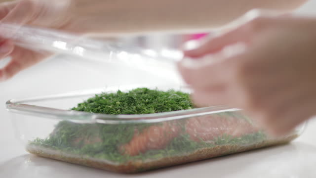 salmon gravlax recipe - polyethylene stock videos and b-roll footage