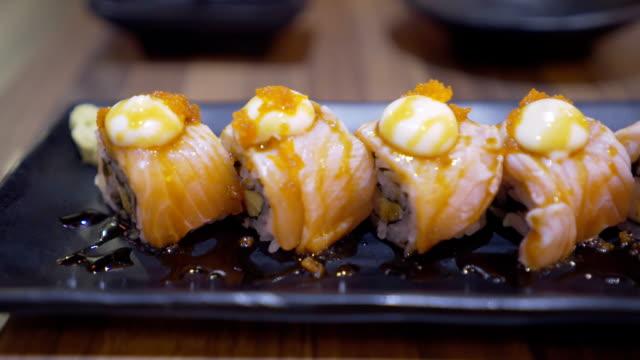 salmon maki roll - nigiri stock videos and b-roll footage