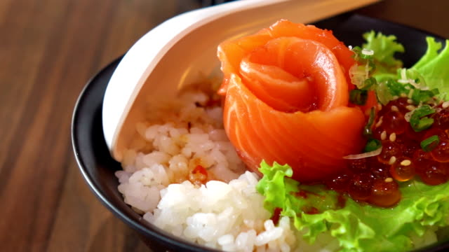 salmon rice - donburi stock videos and b-roll footage