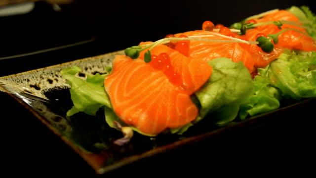 salmon salad - salmon salad stock videos & royalty-free footage