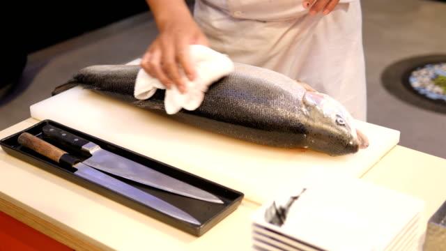 salmon sashimi - wasabi stock videos and b-roll footage