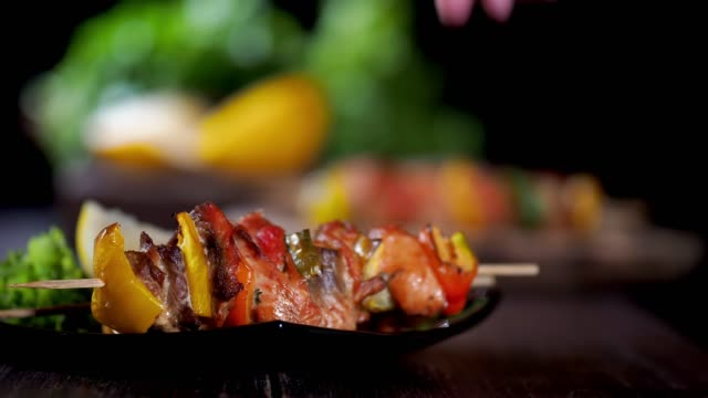 salmon skewers - grilled salmon stock videos & royalty-free footage