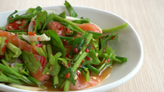 salmon spicy salad - plate stock videos and b-roll footage