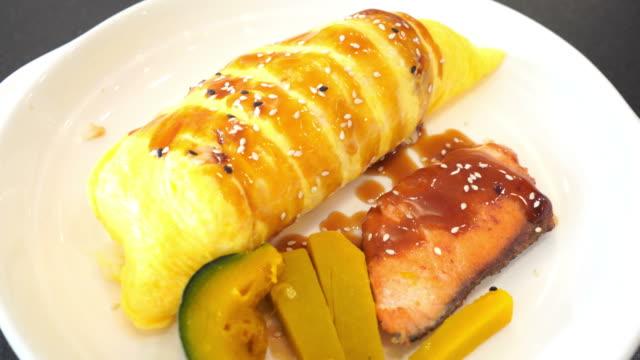 salmon steak and omelet - salmon steak stock videos & royalty-free footage