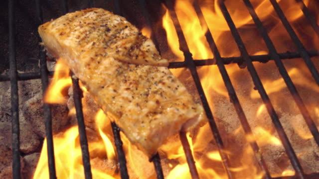 salmon steak on a grill - salmon steak stock videos & royalty-free footage
