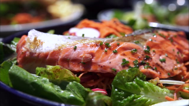 salmon steak on the plate - salmon steak stock videos & royalty-free footage