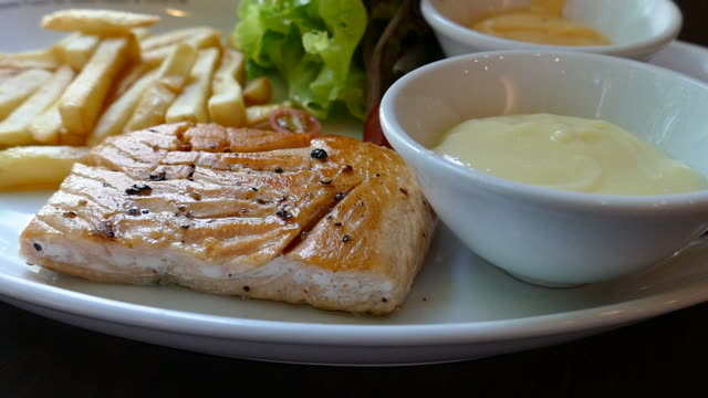 salmon steak - salmon steak stock videos & royalty-free footage
