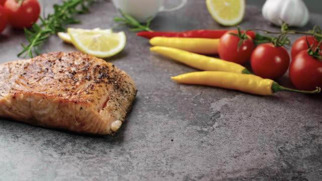 salmon steak/debica/poland - salmon steak stock videos & royalty-free footage